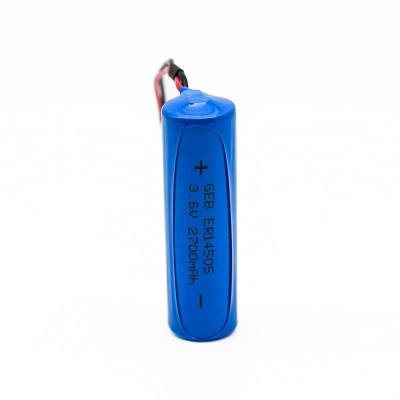 er14505 AA 3.6v 2700mah  lisocl2 battery  with terminal tabs